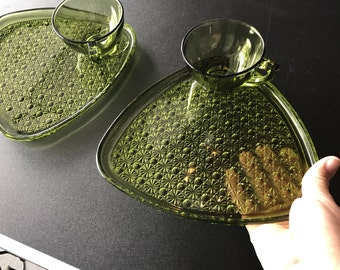 Vintage green Glass cup and plate set