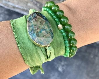 Agate Stone Silk Wrap Bracelet