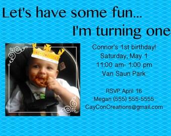 Boys 1st Birthday Invite