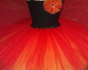 Pixie Cut Flame Tutu Dress, Phoenix Party dress, Fire Fairy Tutu Dress, Fire Tutu Dress, Phoenix Birthday Party Dress, Flame Fairy Costume