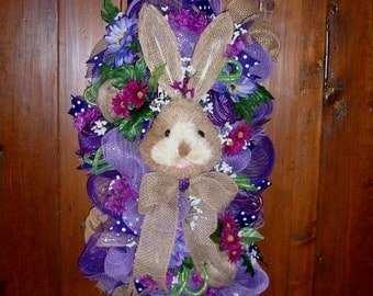 OOAK Wreath, Bunny Wreath Easter Swag. Spring Wreath Bunny Easter Swag