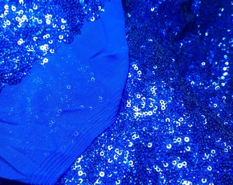 Royal blue sequined mesh