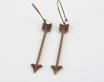 Bronze arrow earrings, arrow earrings, dangle earrings, dangle arrow earrings, bronze, dainty earrings, dainty arrows