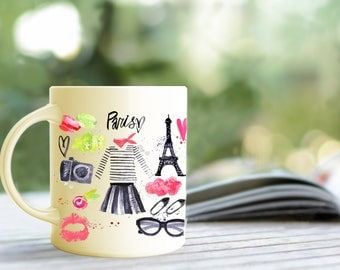 Paris Mug, Eiffel Tower, French, France, Travel Gift, Personalized, Gift for Her, unique