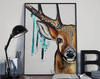 Deer, deer, art print, print, print