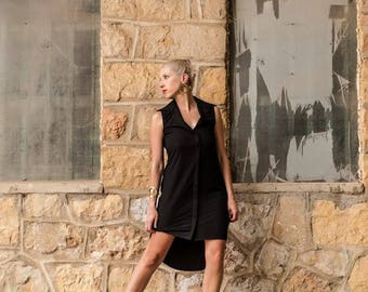 Crep asymmetrical black dress with modern bow back