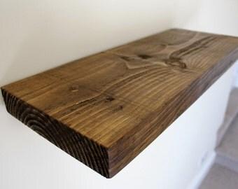 Rustic floating chunky shelf 7 x 2 40cm  oak