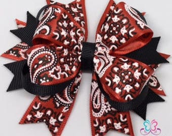 Cowgirl Hair Bow, Westerm Wear, Boutique Red Bandana Hair Bow, Red Classic Bandana Hair Bow