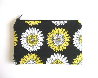 Larger EMF Shielding Homeopathy Storage Zippered Bag (Yellow Black Floral)