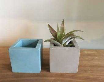 Tiny square concrete pot