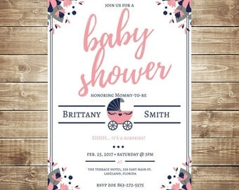 Awesome Surprise Baby Shower Invitation   Baby Shower   Personalized Invite    Digital File