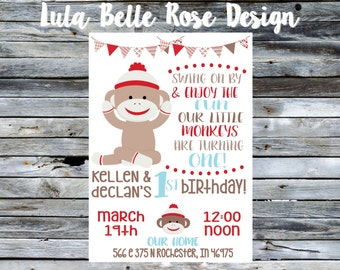 Sock Monkey birthday invitation, first birthday invitation, monkey birthday, sock monkey