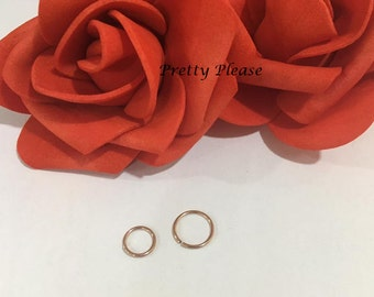 Rose Gold Small Tiny 0.8mm Gauge Rose Gold Nose Ring, Cartilage Earrings Stud 6mm 8mm Diameter