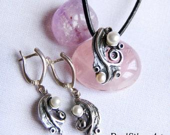 Silver jewelry set/ Silver drop earrings/ Pearl earrings/ Silver pendant/ Pearl pendant/ Silver jewellery/ Gift women/Sterling silver