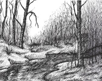 Art Gift Forest Landscape, Nature Art Drawing for Dad, Living Room Art, Housewarming Gift for the Family, Handmade Ink Drawing