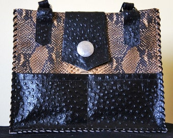 Handmade Exotic Leather Western Purse Lots2Love Inside Pockets Black Lacing