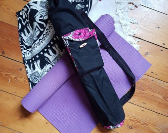 Pink Poppy Contrast Yoga Mat Bag