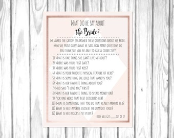 What Did He Say About His Bride? Rose Gold and Blush Bridal Shower Game