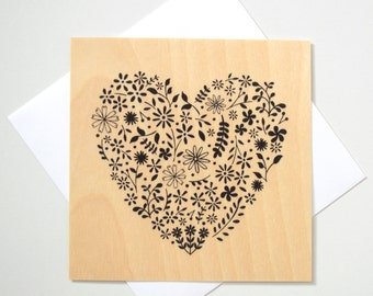 Greeting Card - TIMBER/ Floral Heart - Black
