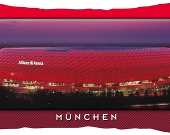 Munich red Stadium postcard cushion (50 cm x 30 cm)