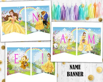 Princess Belle Name banner Beauty & the Beast birthday name banner
