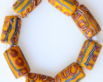 8 Old Yellow Venetian Trade Beads - Vintage African Trade Beads - #7520