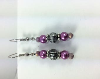 Silver and frosted pink earrings #42