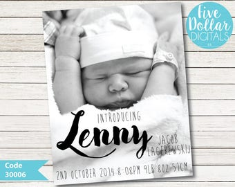Personalised Photo Digital Birth Announcement New Arrival Baby Boy Baby Girl