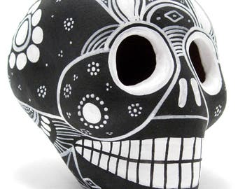 Handpainted Sugar Skull, Dia De Los Muertos Calavera, Mexican Day Of The Dead - BLACK