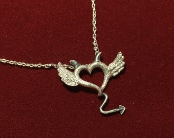 Angel and devil heart necklace