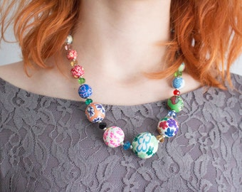 Colourful Beaded Hippie Necklace | Gift for her and Unicorn