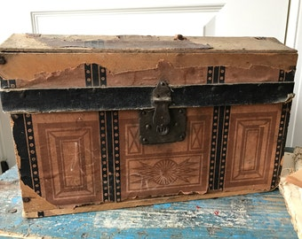 Antique Primitive Dome top Small Doll Trunk - Early!