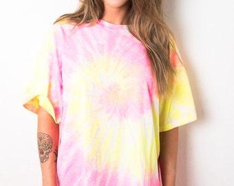 Pink Yellow Swirl Spiral Tie Dye T-Shirt Ladies