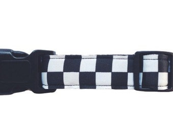The Classic | Dog Collar. Black and White Checkers Dog Collar