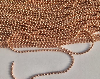 2mm Stainless Steel Rose Gold Ball Chain
