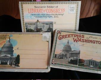 Reduced 3 Vintage Souvenir Folder Pictures Washington D.C. attractions