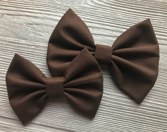 Solid Coffee Baby Headband - Girls Headband - Hair Clip - Hair Bow - Brown Bow