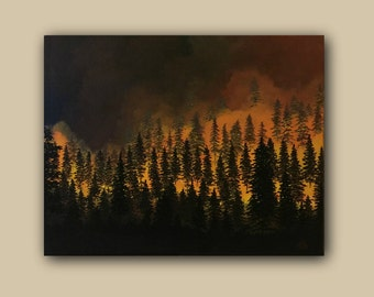 Landscape Realism Acrylic Painting Forest Fire