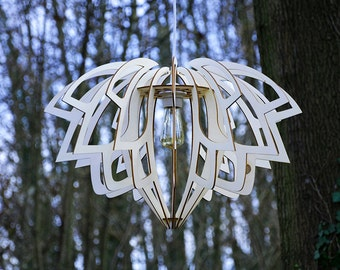 Lotus lamp - pendant - natural - wood