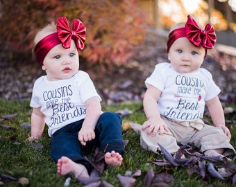 Cousins make the best friends, cousin set, my cousin, girls clothing, boys clothing, toddler clothing, best cousin, best friends,baby shower