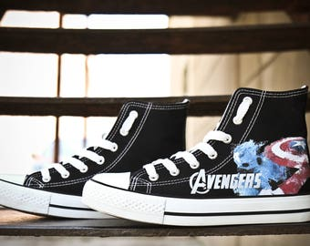 Avengers shoes Custom Sneakers Avengers Sneakers Hi Tops shoes Birthday gift captain shoes