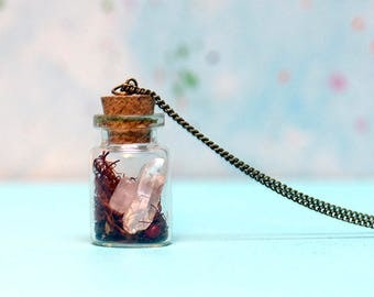 Love Charm Bottle - herb and gem necklace, LOVE and Heart Chakra, meditation