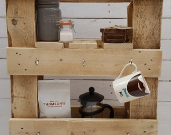 Rustic handmade kitchen wall display and coffee cup holder