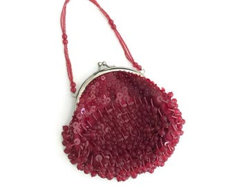 Red Satin Beaded Evening Bag Flapper Revival