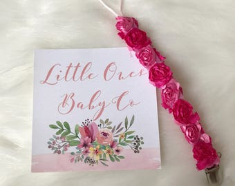 Pink Rose Shabby Chic Pacifier Clip