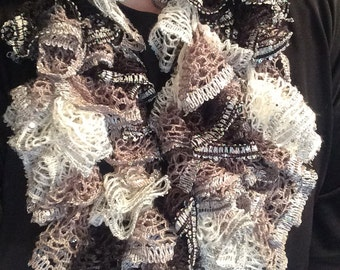 Crochet Ruffle Infinity Scarf