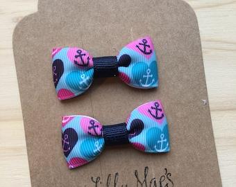 Nautical hearts Mini Tuxedo Hair Bows, baby & toddler hair clip, mini bow