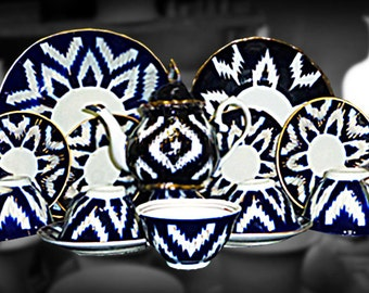 Traditional Uzbek dishware handmade pottery set pakhta ceramic new 224