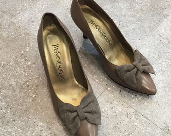 Vintage YSL Yves Saint Laurent Grey Leather Pumps Heels With Suede Bow, 80s Women Shoes
