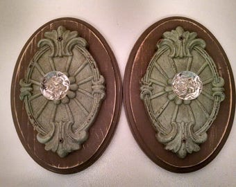 Pair of Distressed Sea Green Door Knob Hooks by The Family Woodshop